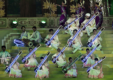 Classical musicians performer at the Jawaharlal Nehru Stadium during the opening ceremony