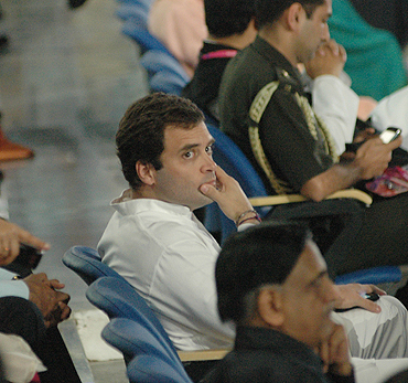 Rahul Gandhi watches the opening ceremony at the Jawaharlal Nehru stadium