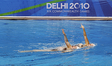 New Zealand's synchronized swimmers at a training session in New Delhi