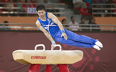 Ryan McKee of Scotland competes on the pommel horse during the gymnastics event