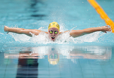 Alicia Coutts of Australia competes in the women's 200m individual medley final