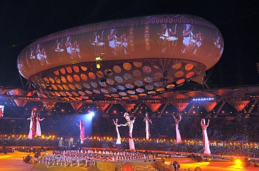 A colourful scene from the Commonwealth Games opening ceremony