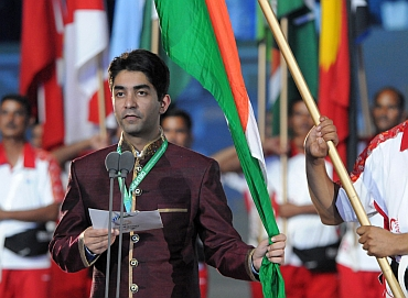 Abhinav Bindra taking the Games Oath
