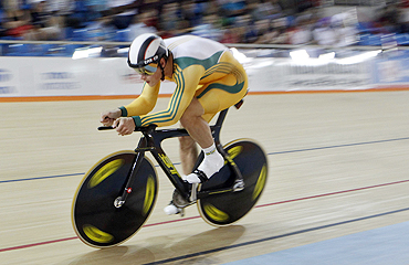 Scott Sunderland of Australia pedals his way to a gold in the men's 1000m Time Trial finals