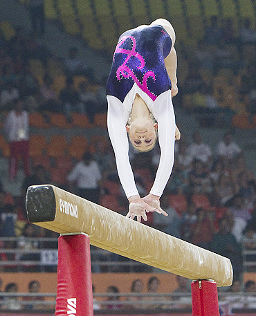 Lauren Mitchell competes on the balance beam on her way to a gold medal on Wednesday