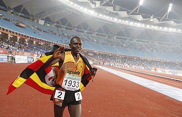 Moses Ndiema Kipsiro after winning his race