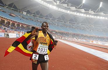 Moses Ndiema Kipsiro after winning his race