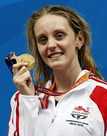Fran Halsall with the women's 50 metre butterfly gold medal