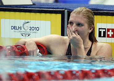 England's Rebecca Adlington reacts during the women's 800m freestyle swimming finals