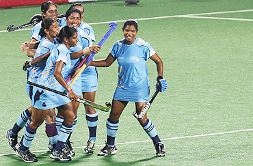 Indian players celebrate after scoring a goal against South Africa on Saturday