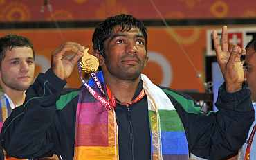 Yogeshwar Dutt with the gold medal
