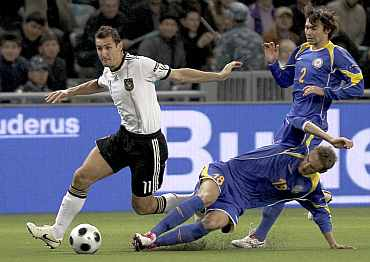 Misolav Klose in action for Germany