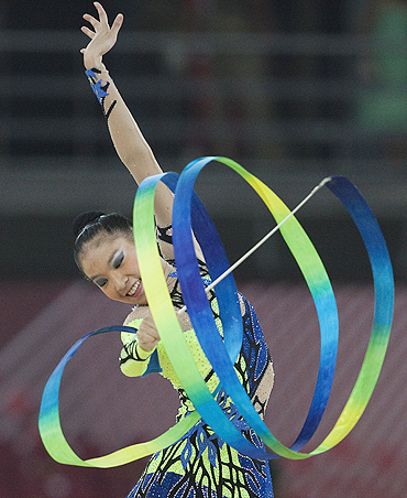 Elaine Koon in action in the rhythmic gymnastics event on Wednesday