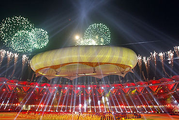 The Aerostat looms over the Jawaharlal Nehru Stadium