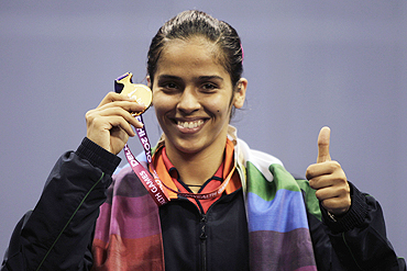 Saina Nehwal with her gold medal
