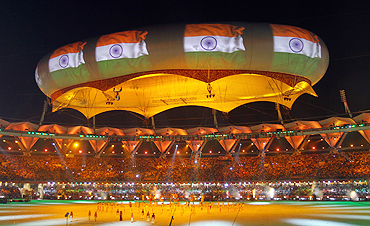 The Indian flag is shown on the aerostat