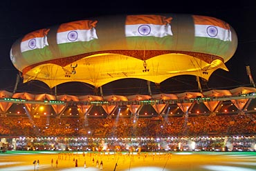 The Indian flag is projected onto the Aerostat during the Commonwealth Games closing ceremony