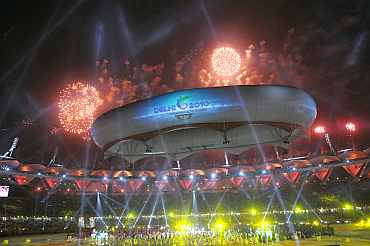 Fireworks during the Commonwealth Games closing ceremony