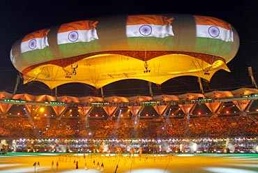 Aerostat displays India's flag during the closing ceremony