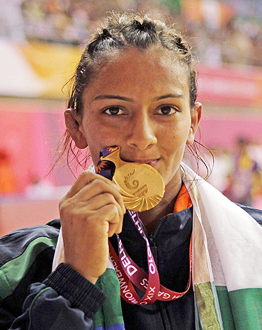 Wrestler Geeta with the gold medal