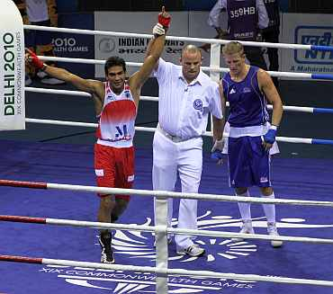 Manoj Kumar celebrates after winning gold medal