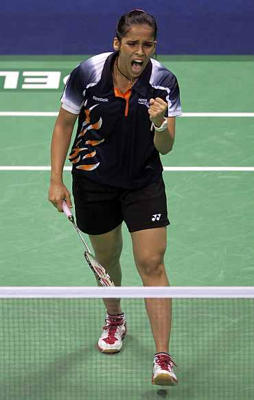 Saina Nehwal reacts after winning a point