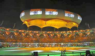 India's flag being displayed at the aerostat during the closing ceremony