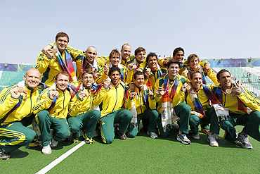 Australia's hocky team celebrates after beating India