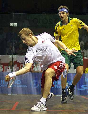 Nick Matthew in action during Commonwealth Games