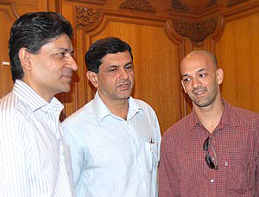 The Olympic Gold Quest team -- Geet Sethi (left), Prakash Padukone and Viren Rasquinha