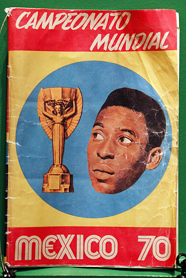 A picture of Brazilian soccer legend Pele is displayed on the front page of a Mexico'70 World Cup team magazine, at the Soccer Museum in Sao Paulo on Friday, to mark the football legend's 70th birthday