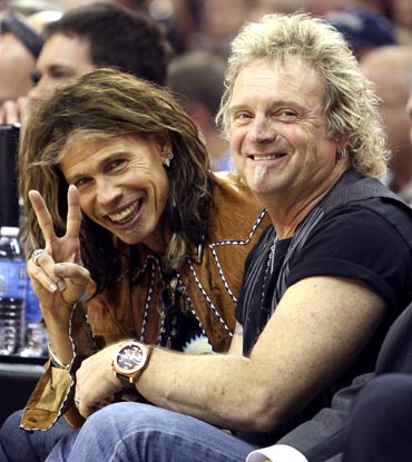 Aerosmith's lead singer Steven Tyler (left) and bassist Tom Hamilton