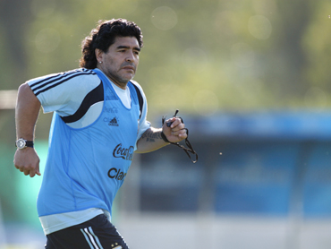 Argentina's head coach Diego Maradona attends a practice session of the team at the squad's camp in Buenos Aires