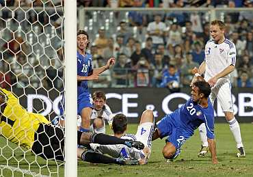 Italy's Quagliarella scores against Faroe Islands during their Euro 2012 qualifying match in Florence