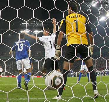 Klose of Germany scores a goal against Azerbaijan in their Euro 2012 qualifying soccer match in Cologne