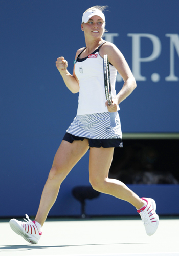 Vera Zvonareva of Russia celebrates a point during her match against Kaia Kanepi of Estonia