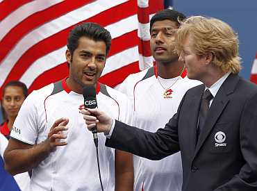 Aisam-Ul-Haq Qureshi speaks after their doubles match against Bob and Mike Bryan at the US Open tennis tournament