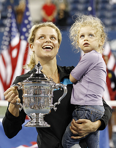 Kim Clijsters with her daughter Jada