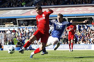 Birmingham City's Roger Johnson (right) challenges Liverpool's Fernando Torres