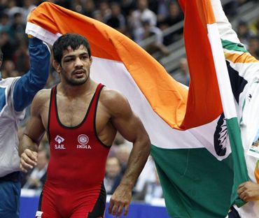 Sushil Kumar after winning gold at the World Championships in Moscow on Sunday
