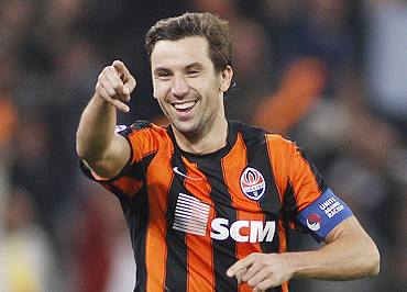 Shakhtar Donetsk's Darijo Srna celebrates after scoring against Partizan