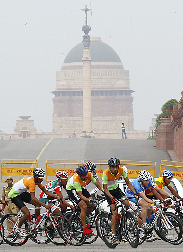 A peleton of cyclists during the Delhi Cyclothon