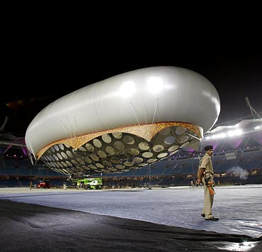 The giant aerostat inside the Jawaharlal Nehru stadium