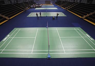 The badminton courts inside the Siri Fort Sports Complex