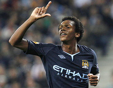 Manchester City's Jo Alves celebrates after scoring against Salzburg