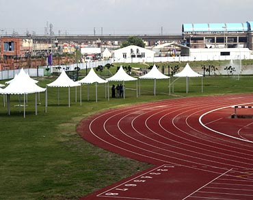 The athletics track inside the village