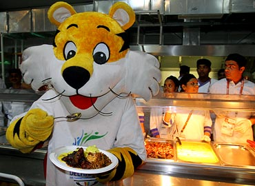 The Commonwealth Games 2010 mascot poses for photographers