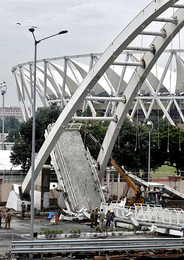 The collapsed footbridge outside the Jawaharlal Nehru stadium, one of the venues for the Commonwealth Games in Delhi