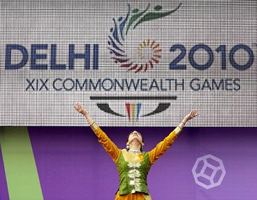 A dancer performs during the launch of the 2010 Commonwealth Games Queen's Baton Relay