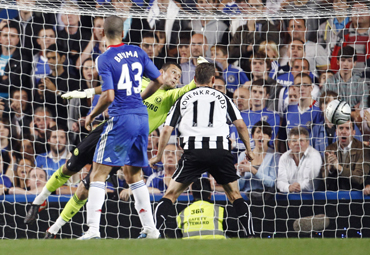 Chelsea's goalkeeper Ross Turnbull (C) looks on as Newcastle United's Shola Ameobi (unseen) heads the winning goal during their English League Cup soccer match at Stamford Bridge